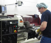 Harrison V390 Centre lathe in action at Longley Farm