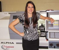 Joanne Zalesinski, 600 UK Educational Sales Representative with Harrison Alpha CNC lathe